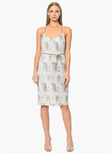 NetWork İnce Askılı Midi Elbise Ekru